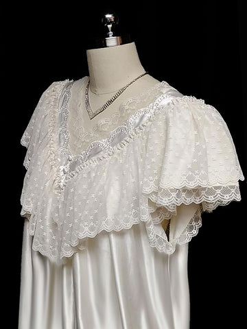 VINTAGE VICTORIAN LOOK SATIN NIGHTGOWN DRIPPING WITH LACE IN CHAMPAGNE CREAM