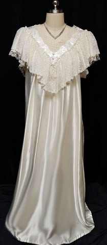 VINTAGE VICTORIAN LOOK DONNA RICHARD VICTORIAN LOOK SATIN NIGHTGOWN DRIPPING WITH LACE IN CHAMPAGNE CREAM