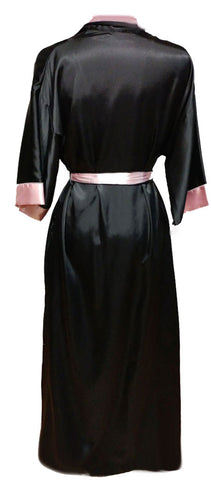 VINTAGE DONNA RICHARD LUXURIOUS BLACK & PINK SATIN PEIGNOIR ADORNED WITH AN ORCHID APPLIQUE WITH TASSEL