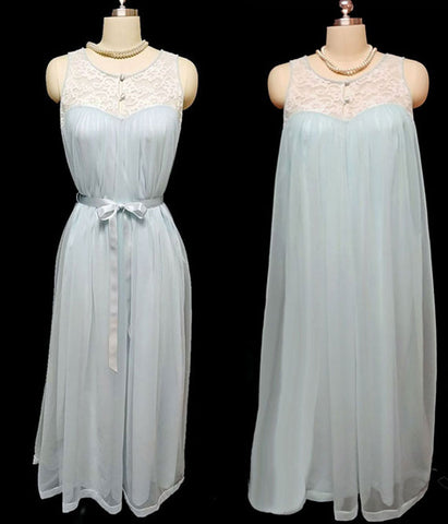 VINTAGE DOUBLE NYLON AND LACE NIGHTGOWN IN HEAVEN SENT BLUE