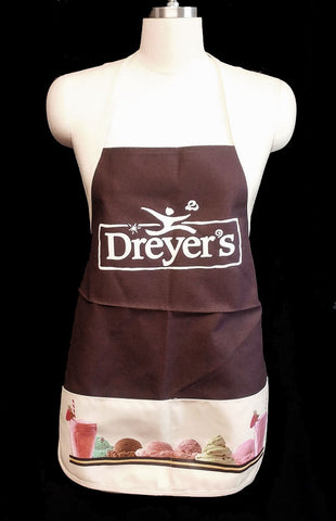 VINTAGE DREYER'S STRAWBERRY SHAKES AND ICE CREAM APRON - NEW OLD STOCK - NEVER WORN