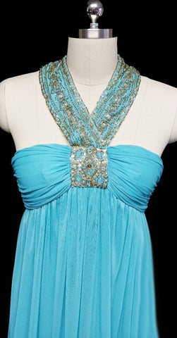 NEW WITH TAGS - BEAUTIFUL GODDESS HALTER EVENING GOWN ENCRUSTED WITH SPARKLING GOLD SEQUIN & BEADS IN TURQUOISE