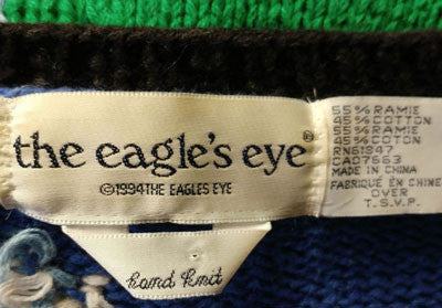 VINTAGE '90s THE EAGLE'S EYE SCHOOL TEACHERS DECORATED YARN & FELT SWEATER - SIZE LARGE