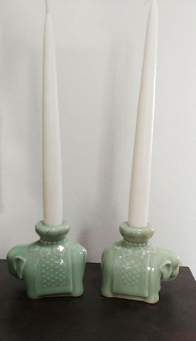 VINTAGE 1960s CHINESE CELADON GLAZED ELEPHANT CANDLE HOLDERS