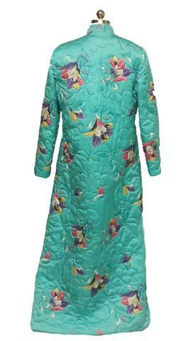 VINTAGE ELIZABETH ARDEN TORRI RICHARD RARE FLORAL QUILTED ROBE DRESSING GOWN FROM HONG KONG