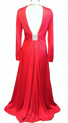 VINTAGE 1960s EVA GABOR ESTEVEZ BIAS-CUT CUT OUT BACK WITH RHINESTONES RUCHED EVENING GOWN