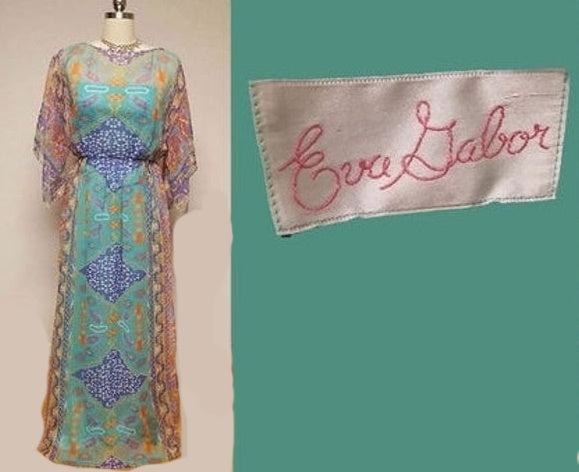 VINTAGE '70s EVA GABOR PURPLE & AQUA CHIFFON EVENING GOWN