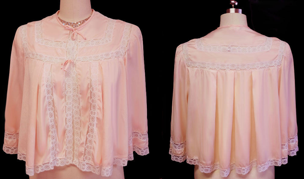EXQUISITE VINTAGE 50s / 60s EVE STILLMAN FOR I. MAGNIN BED JACKET LAVISHED WITH LACE & EMBROIDERY