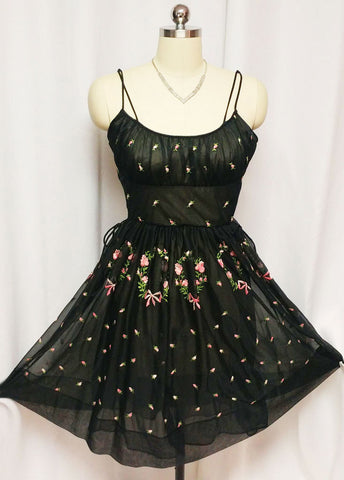 "VINTAGE EYE FUL BY ""THE FLAUMS"" PINK & BLACK DOUBLE NYLON NIGHTGOWN WITH EMBROIDERED ROSES & BOWS"