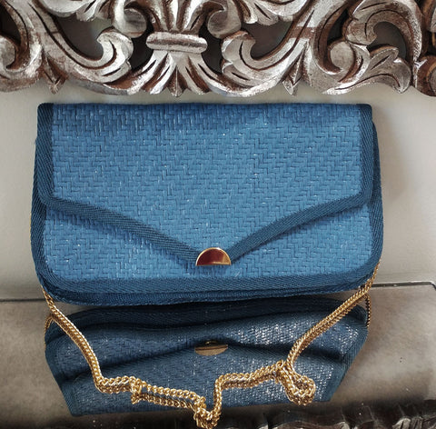 VINTAGE MADE IN ITALY FASHION IMPORTS BLUE STRAW PURSE