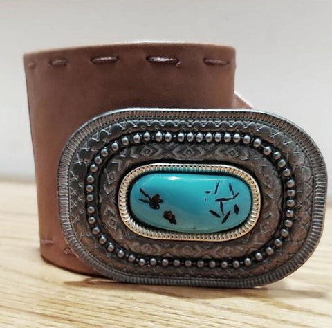 NEW NEVER WORN FAUX LEATHER BUCKSKIN COLOR SOUTHWEST BELT WITH LARGE FAUX TURQUOISE IN DARK NICKLE LOOK BUCKLE