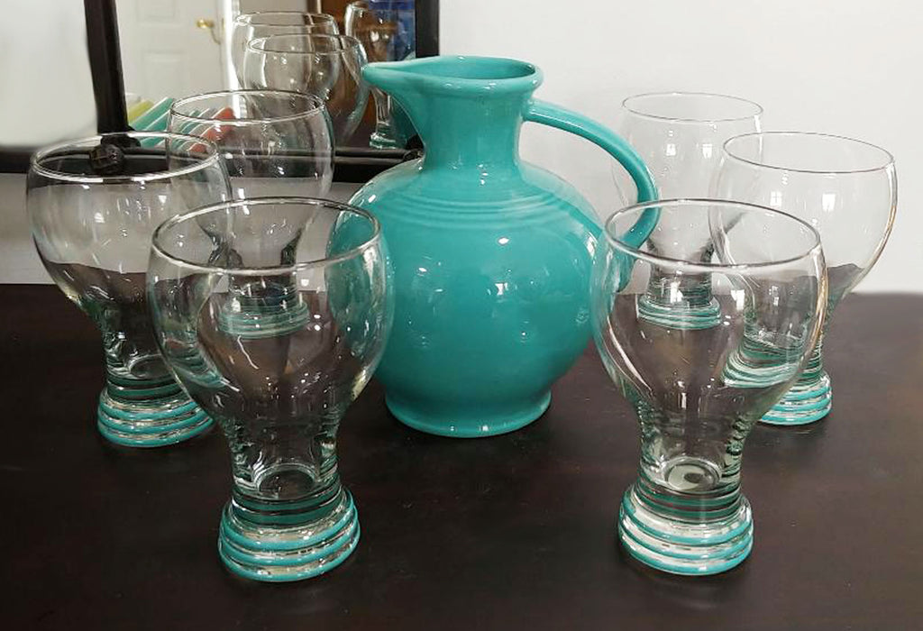 RARE DISCONTINUED VINTAGE FIESTA HOMER LAUGHLIN JUNIPER GOBLETS GLASSES (SET OF 6) - NEW OLD STOCK - NEVER USED - PLUS FIESTA CARAFE PITCHER