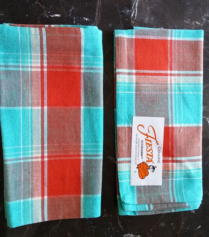 2 GENUINE FIESTA ACCESSORIES FIESTA BISTRO CHECK PLAID NAPKINS BY FIESTA DINNERWARE & HOME LAUGHLIN