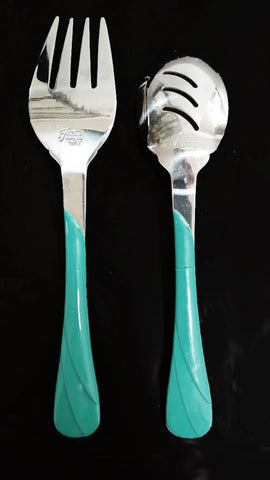 FIESTA HOMER LAUGHLIN METAL TURQUOISE SALAD SERVERS