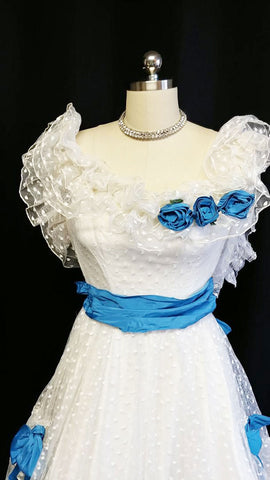 GORGEOUS VINTAGE '60s FLIRTATIONS BY ALFRED ANGELO DOTTED SWISS TULLE & MARINE BLUE RUFFLES FORMAL PROM DRESS / EVENING GOWN