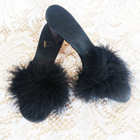 VINTAGE FLIRTO BLACK SATIN MARABOU PEEP TOE BEDROOM SLIPPERS / MULES