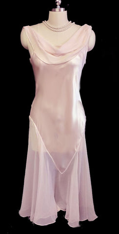 GLAMOROUS VINTAGE FLORA NIKROOZ SATIN & SHEER CHIFFON BIAS CUT NIGHTGOWN IN POWDER PUFF PINK - SIZE LARGE