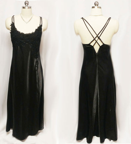 VINTAGE 80s / 90s FLORA NIKROOZ HEAVY APPLIQUED BLACK  SATIN NIGHTGOWN