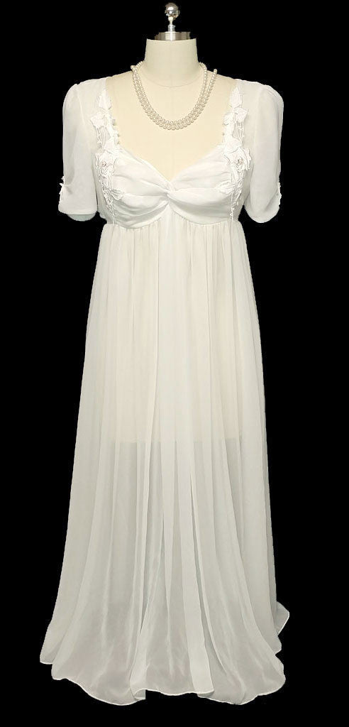 VINTAGE RARE STYLE FLORA NIKROOZ BRIDAL TROUSSEAU WEDDING NIGHTGOWN WITH CHIFFON & APPLIQUES