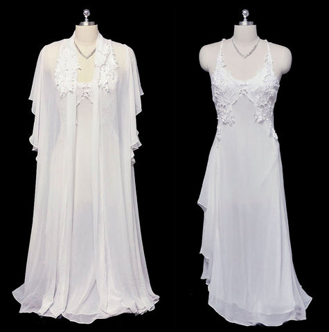 GORGEOUS VINTAGE FLORA NIKROOZ BRIDAL TROUSSEAU WEDDING NIGHT CHIFFON & APPLIQUES PEIGNOIR & NIGHTGOWN SET