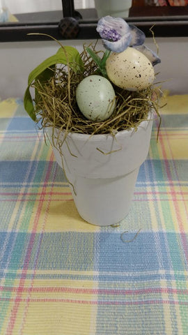 ADORABLE BIRD'S EGGS & FLORAL DECORATING ITEM IN A CLAY FLOWER POT