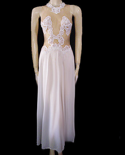 VINTAGE BRIDAL FORMFIT ROGERS CREAMY WHITE & SHEER NUDE NIGHTGOWN WITH LACE APPLIQUES & FABULOUS BACK