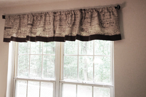 NEW - 1 FRENCH SCRIPT DOCUMENT WINDOW VALANCE