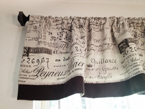 NEW - SET OF 2 DOCUMENT FRENCH SCRIPT WINDOW VALANCES