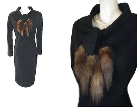 VINTAGE '50s FUR TAILS COCKTAIL DRESS WITH  METAL ZIPPER