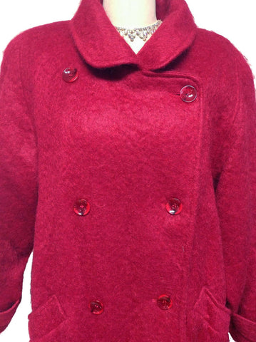 VINTAGE GEORGE DAVID FASHIONS SCARLET MOHAIR COAT - LARGE SIZE