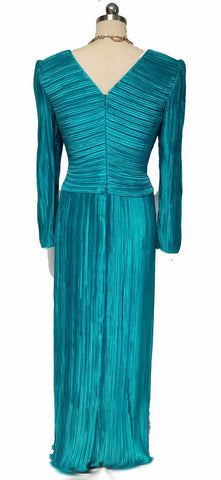 VINTAGE GEORGE F. COUTURE FORTUNY-LOOK PLEATED EVENING GOWN IN SEA GODDESS