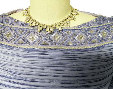 VINTAGE GEORGE F. COUTURE FORTUNY-LOOK PLEATED EVENING GOWN IN PERIWINKLE