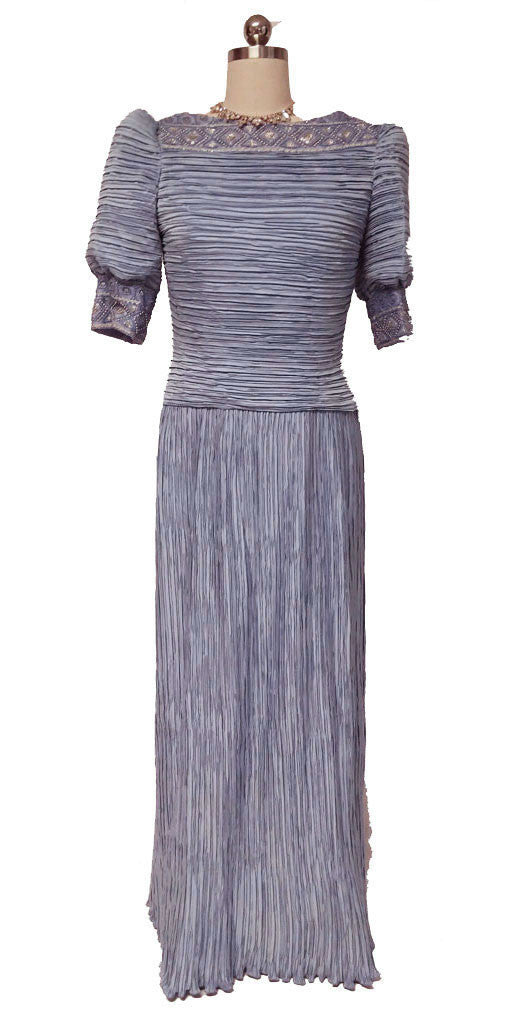 VINTAGE GEORGE F. COUTURE FORTUNY-LOOK PLEATED EVENING GOWN IN ...