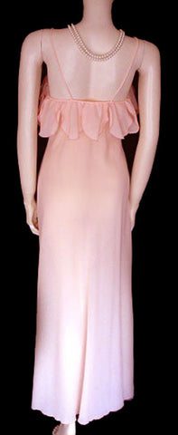 VINTAGE GEORGETTE TRABOLSI ROSE PETALS NIGHTGOWN & PEIGNOIR BED JACKET