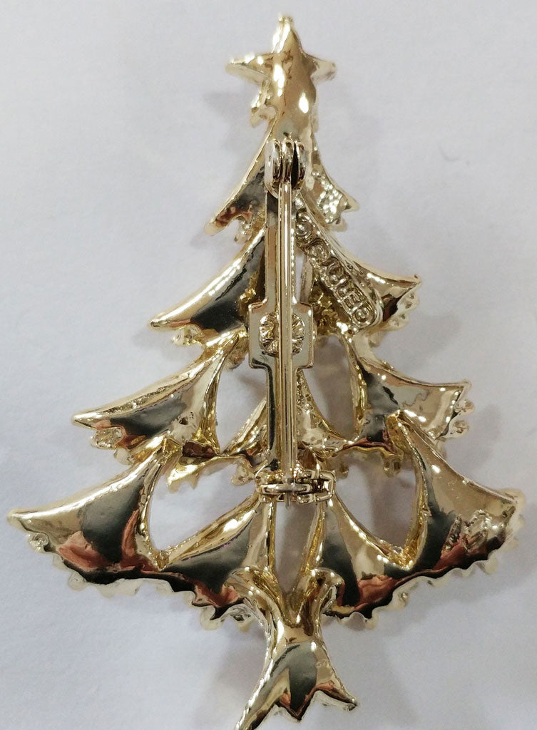vintage 60s gerrys sparkling christmas tree pin brooch with enameled ornaments