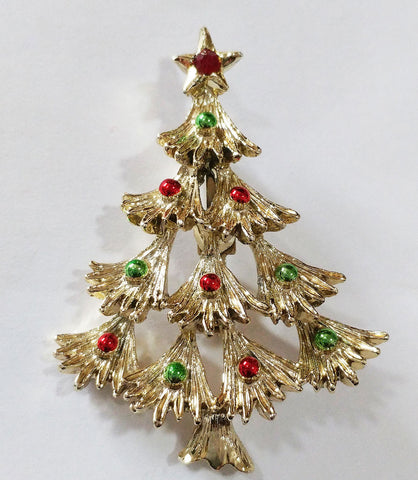 VINTAGE '60s GERRY'S SPARKLING CHRISTMAS TREE PIN / BROOCH WITH ENAMELED ORNAMENTS