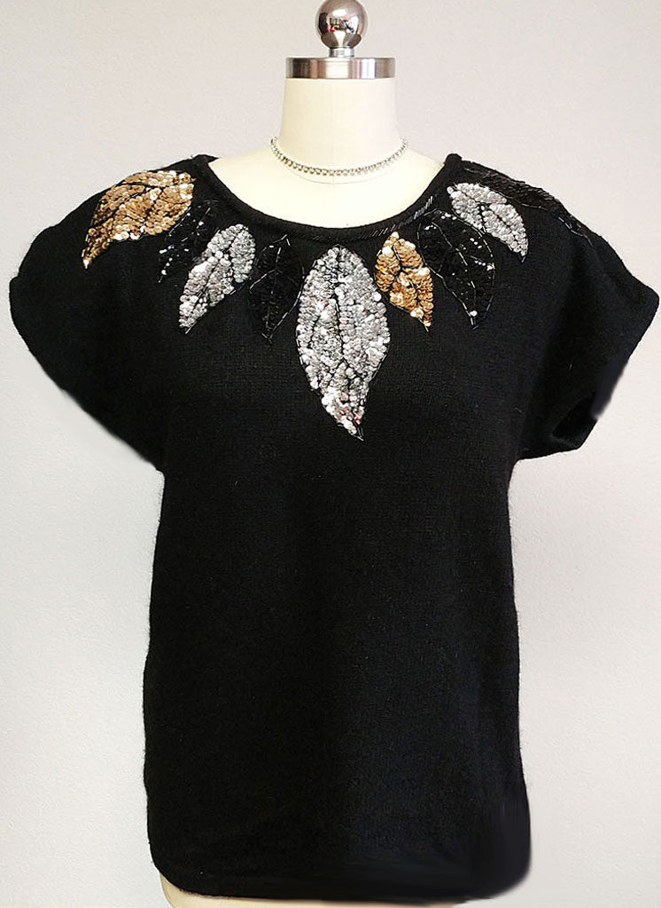 VINTAGE '80s GLAMOROUS GLADYS BAGLEY WOMANS SILK ANGORA LAMBSWOOL SEQUIN BEADED SWEATER - VERY LARGE SIZE