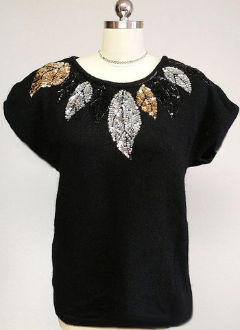 VINTAGE '80s GLAMOROUS GLADYS BAGLEY WOMANS SILK ANGORA LAMBSWOOL SEQUIN BEADED SWEATER - VERY LARGE SIZZE