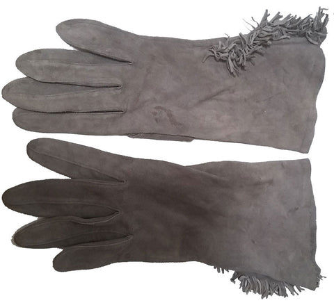 SOPHISTICATED VINTAGE GRAY SUEDE FRINGE GAUNTLET GLOVES