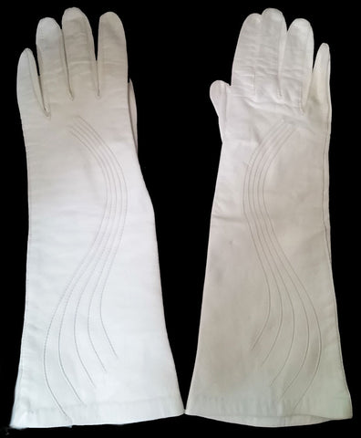ELEGANT VINTAGE '50s / '60s LONG SWIRL WEDDING LEATHER GLOVES