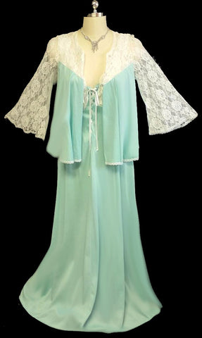 VINTAGE GLYDONS LACE SWING BED JACKET PEIGNOIR & SATIN RIBBON LACE UP NIGHTGOWN SET IN AZURE