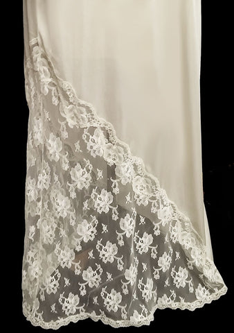 GLAMOROUS VINTAGE BOB MACKIE FOR GLYDONS LACE BIAS CUT NIGHTGOWN