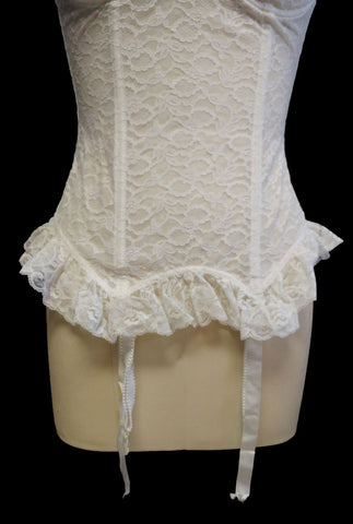 GLAMOROUS VINTAGE 1950s FANCY GODDESS RUFFLE LACE MERRY WIDOW WITH METAL GARTERS FOUNDATION BUSTIER - ABSOLUTELY GORGEOUS!