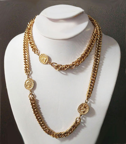 VINTAGE '80s GOLD TONE FAUX COINS NECKLACE WITH LOTS OF SPARKLE