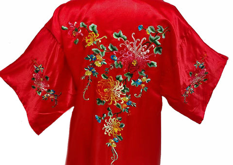 EXQUISITE ASIAN GOLDEN DRAGON SILK ROBE ADORNED WITH EMBROIDERED CHRYSANTHEMUMS,  VINES & LEAVES IN SCARLET
