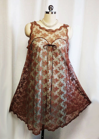VINTAGE GOSSARD ARMETIS BROWN SUGAR LACE TWO TONE ILLUSION NIGHTGOWN