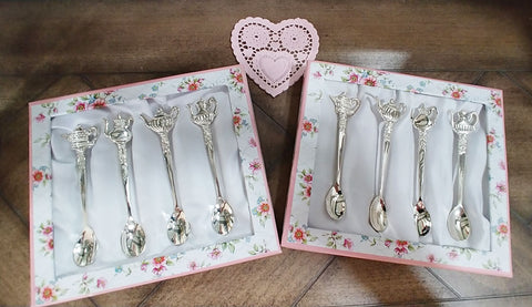 SOLD - ADORABLE GRACE'S TEAWARE SILVERPLATE TEAPOT HANDLE TEASPOONS FOR A TEA OR DAILY USE - 2 SETS