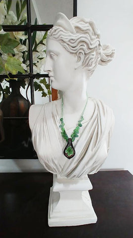 NEW OLD STOCK - VINTAGE STRIKING GREEN & BLACK GLASS LAMPWORK NECKLACE & EARRING SET FROM THE CARIBBEAN - HANDMADE