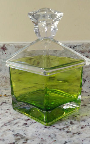 VINTAGE VERY HEAVY THICK GLASS DECORATIVE CONTAINER IN LEMONGRASS