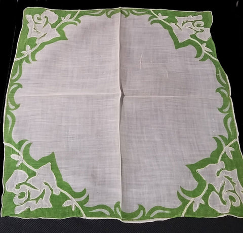 VINTAGE SPRING GREEN & WHITE UNIQUE DESIGN HANDKERCHIEF
